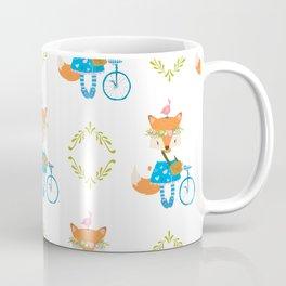 Girl Fox with Bike Pattern Coffee Mug