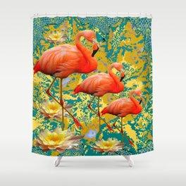 Modern Teal Art Saffron Flamingos  Water Lilies Shower Curtain