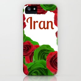 Iran red letters and red and green roses  iPhone Case