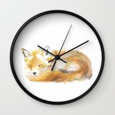 Woodland Sleepy Fox Wall Clock