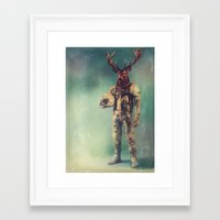 deer Framed Art Prints featuring Without Words by rubbishmonkey