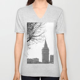 Galata Tower in Istanbul Unisex V-Neck