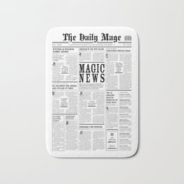 The Daily Mage Fantasy Newspaper Bath Mat