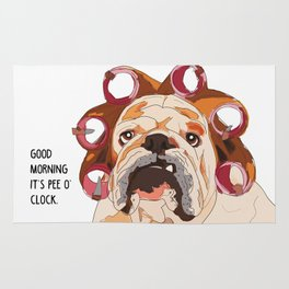 English Bulldog-Good Morning.  It's pee o'clock. Rug