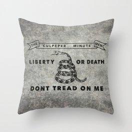 Culpeper Minutemen flag, Worn distressed textues Throw Pillow