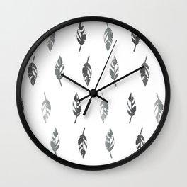 Lightly Feathered Boho Chic Farmhouse Grey Feather Print Wall Clock