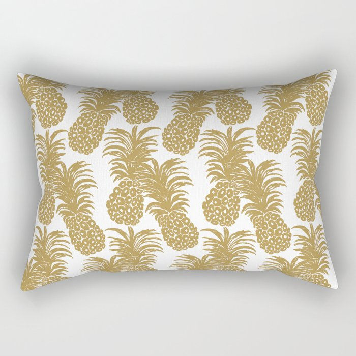 Gold Pineapples Rectangular Pillow