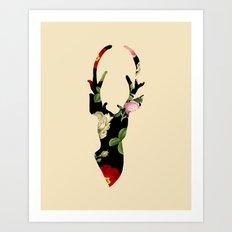 Flower Deer Silhouette Art Print