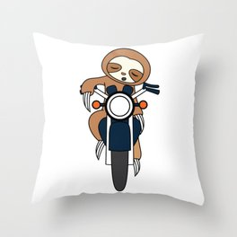 """""""Sloth Riding Motorcycle"""" for street poopers out there! Makes a nasty gift too this holiday!  Throw Pillow"""
