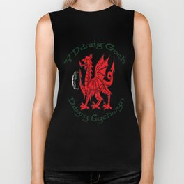 The Red Dragon Inspires Action Green Text Biker Tank