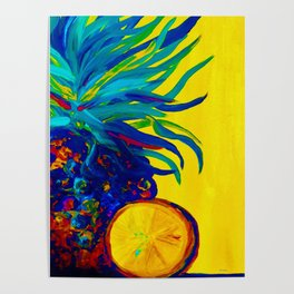 Blue Pineapple Abstract Poster