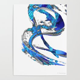 Modern Blue And White Art Painting - Flowing 4 - Sharon Cummings Poster