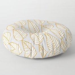 Winter Leaves Grey and Gold Floor Pillow
