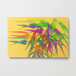 Bamboo Leaves Multycolor on Yellow Board Metal Print