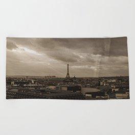 Rooftop view of Paris Beach Towel
