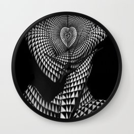 0622-JAL Heart Shape Pattern on Breasts and Nude Body Abstracted by Optical Patten Wall Clock