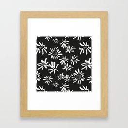 White Flowers On The Black Framed Art Print