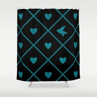 malachite Shower Curtains featuring Always Near (from the Valentine set) (colors: midnight malachite) by penina
