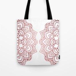 Modern geometric white rose faux gold floral mandala Tote Bag