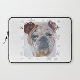 American Bulldog Portrait Vector With Decorative Border Laptop Sleeve