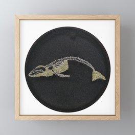 Embroidered humpback whale Framed Mini Art Print