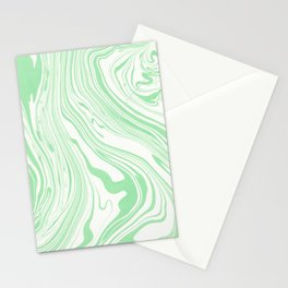 Pastel green white watercolor hand painted marble Stationery Cards