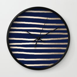 Drawn Stripes White Gold Sands on Nautical Navy Blue Wall Clock