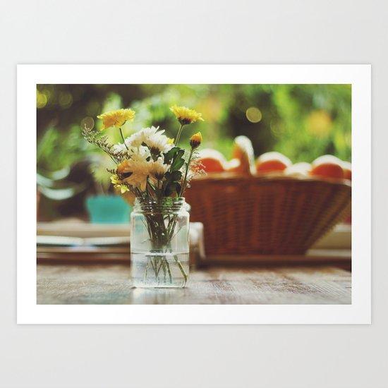 Flowers and oranges Art Print