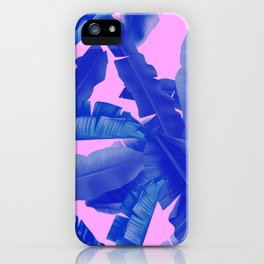 tropical banana leaves pattern,pink,blue iPhone Case