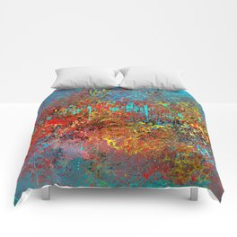 Abstract Painting in Red, Turquoise, Yellow, Black Comforters