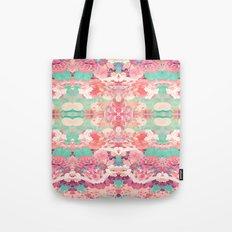 Pink Floral Teal Fashion Kaleidoscope Pattern Tote Bag