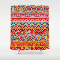 india Shower Curtains featuring India Style Pattern (Multicolor) by Diego Tirigall