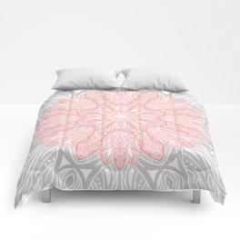MANDALA IN GREY AND PINK Comforters