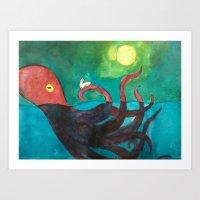 Octopus and Rabbit Art Print