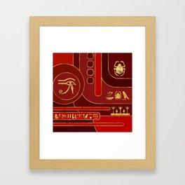 Egyptian Geometric Art Deco Red and Gold Framed Art Print