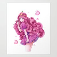 princess bubblegum Art Prints featuring Princess Bubblegum by NaiLyn