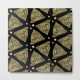 Abstract Triangles Gold Texture & Black Metal Print