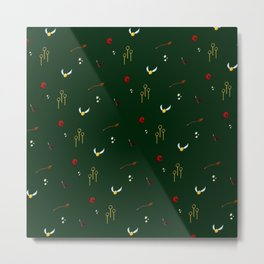 Quidditch Pattern - Slytherin Metal Print