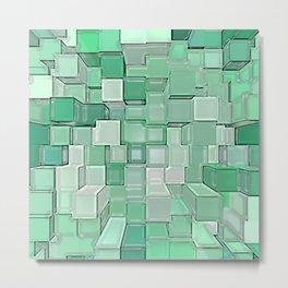 Green Cubes Metal Print