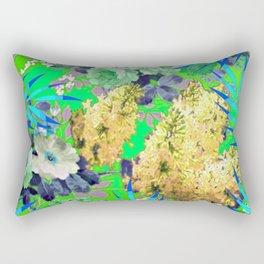 BLUE & GREEN FLORAL PATTERN Rectangular Pillow
