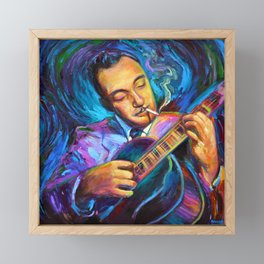 Gypsy Jazz Guitarist Django Reinhardt by Robert Phelps Framed Mini Art Print