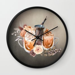 Make Mine a Latte With Flowers Wall Clock