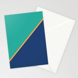 Mint & Dark Blue - oblique Stationery Cards