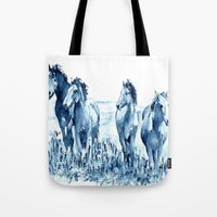 horses Tote Bags featuring horses by Michele Petri