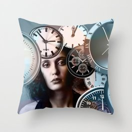 Time Clock Throw Pillow