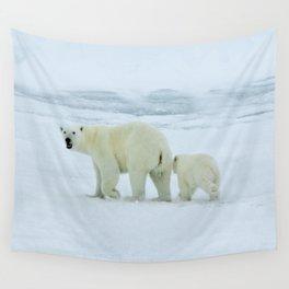Polar Bear and Cub  Wall Tapestry
