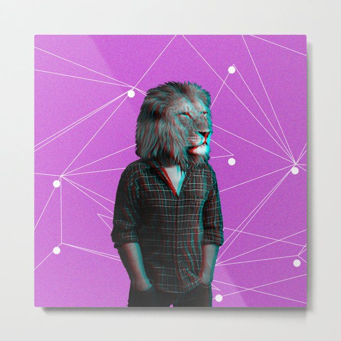 Lion Man pink Metal Print