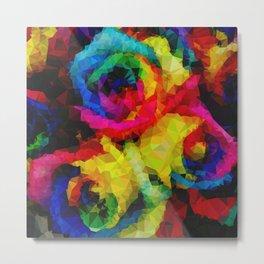 Geometric Multicolor Roses Metal Print