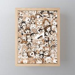 Ahegao Hentai Girls Anime Manga Collage Sepia Tinted Framed Mini Art Print