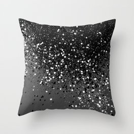 Dark Gray Black Lady Glitter #1 #shiny #decor #art #society6 Throw Pillow